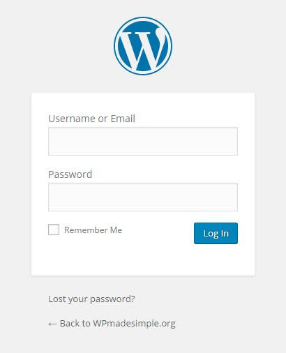 The WordPress Log in box