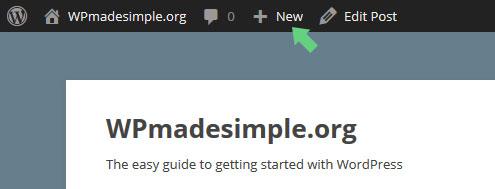 Adding a post in WordPress via the Admin Bar